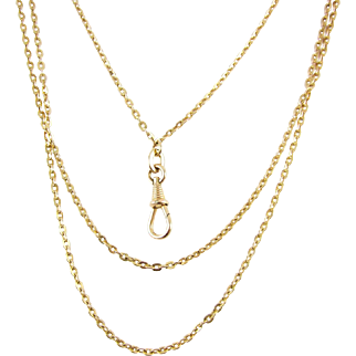Antique Heavy Gold Plated Long Guard Chain, 9 Carat Gold Plated Early 20th Century Chain Necklace, Dog Clip Holder. 145 cm / 57 inches.