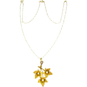 Edwardian Yellow Gold Leaf Pendant with Cultured Pearls. Textured Canadian Maple Leaves in 15 Carat Yellow Gold.