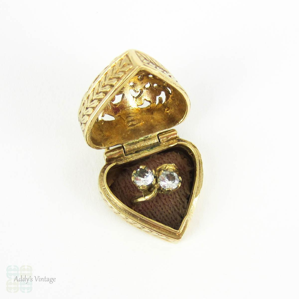 vintage heart ring box charm opens to reveal engagement