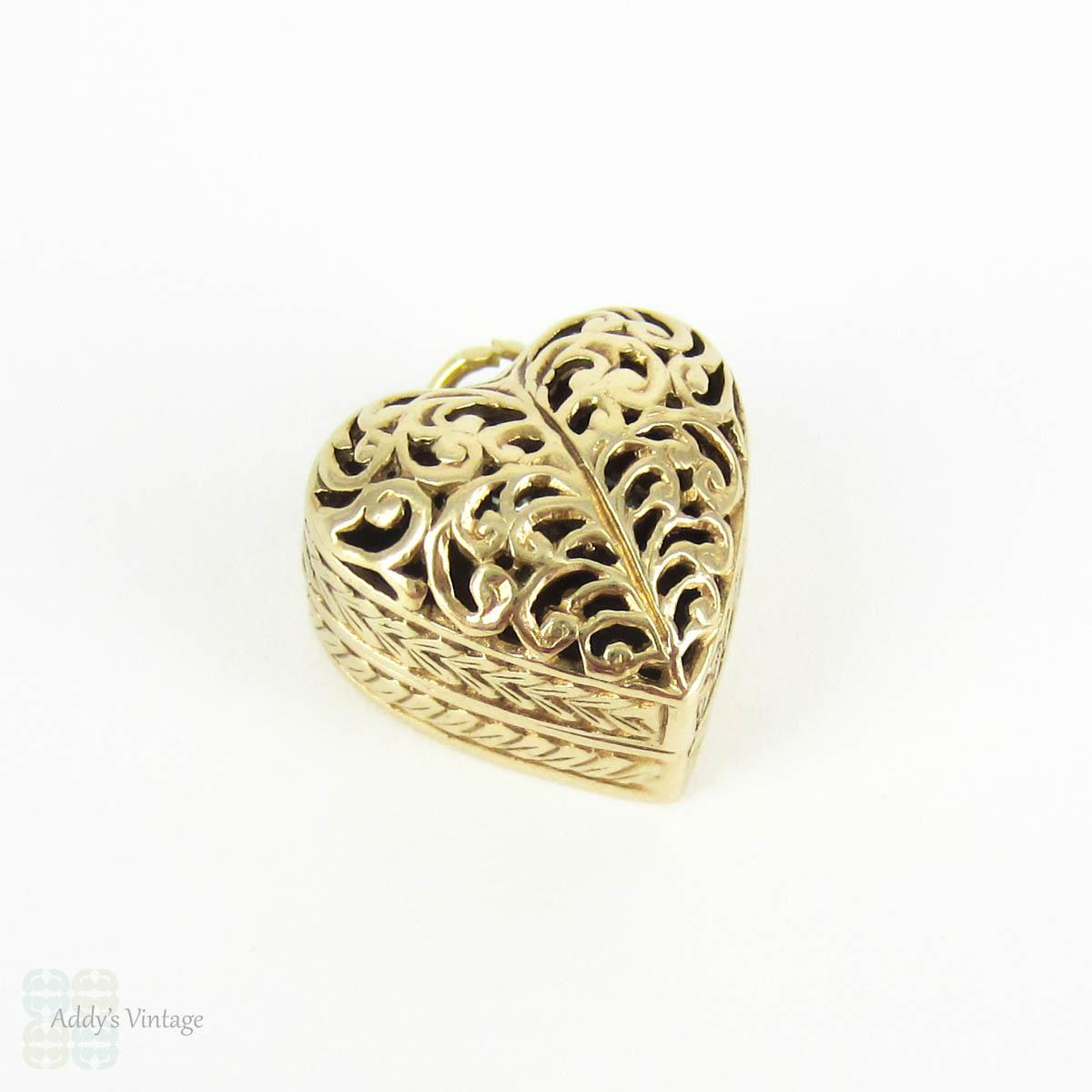 Vintage Heart Ring Box Charm Opens to Reveal Engagement Ring
