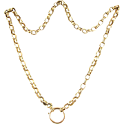 Antique Victorian Book Chain, 1800s 9 Carat Gold Double Belcher Link Collar Necklace, Oversize Clasp for Locket, Pendant. 44.5 cm / 17.5 in.