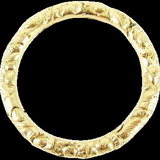 Antique 15k Split Ring, Extra Large 15 Carat Gold Engraved Ring. Circa 1800s, 24.5 mm