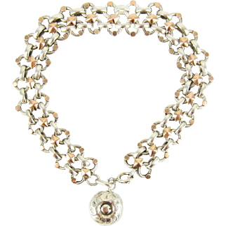 1940s Vintage French Bracelet, Sterling Silver & Gold Gilt Link Bracelet with Bauble Charm. 20 cm / 7.87 inches.