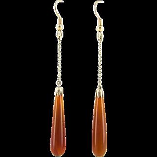 Edwardian Carnelian Drop Earrings, Long Orange Red Chalcedony Dangle Earrings in 9 Carat Gold. Circa 1900s.
