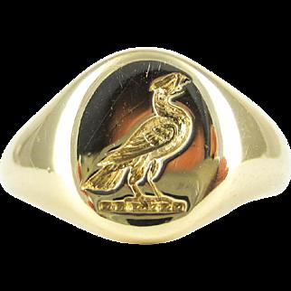 Vintage 1950s Game Bird Signet Ring, 9 Carat Yellow Gold Grouse Ladies Seal Ring. Size K / 5.25.