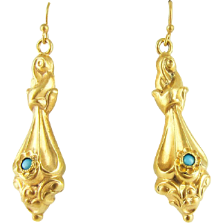 Antique Victorian Gilt Earrings, Tapered Shape Drops with Glass Turquoise Glass Bead in 15 Carat Gilt Metal. Late Victorian Dangle Earrings.