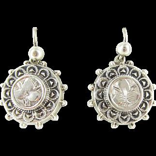 Victorian Sterling Silver Earrings, Antique Ivy Design Drop Earrings. Circular Disc Shaped Dangle Earrings, Circa 1880s.