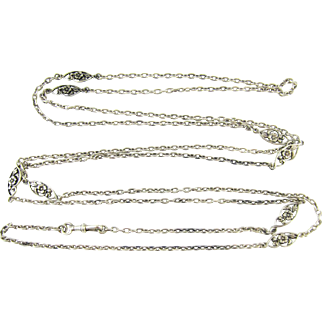 Art Nouveau French Sterling Silver Long Guard Chain, Pansy Flower Fancy Link Necklace. Circa 1910s, 145 cm / 57 inches long.