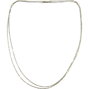 Antique Platinum & Cultured Pearl Chain, Circa 1910s Long Trace Chain with White Cultured Pearls. 71.5 cm / 28.15 inches.