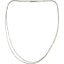 Antique Platinum & Cultured Pearl Chain, Circa 1910s Long Trace Chain with White Cultured Pearls. 71.5 cm / 28.15 inches. - Red Tag Sale Item