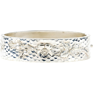Art Nouveau 800 Silver Bracelet, Hammered Texture with Rose Flower Blossoms & Bee Detail. Circa 1900s.