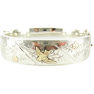 Art Deco Engraved Bangle Bracelet, Sterling Silver with 9 Carat Gold Overlay Bird and Flowers Design. Circa 1920s, by Smith & Pepper.