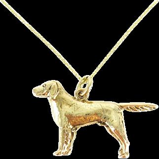 Vintage Pointer Dog Charm, 9 Carat Yellow Gold English Pointer Dog Charm. Circa 1970s on 9k Gold Chain.