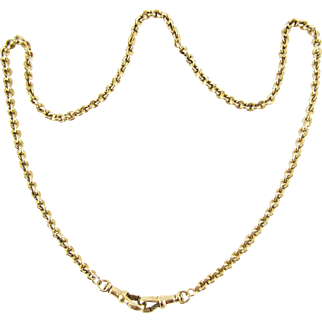 Antique 9 Carat Gold Chain Necklace, Heavy 19.3 gram Belecher Link 43 cm / 17 inch Chain With Dog Clips, Circa 1900s.