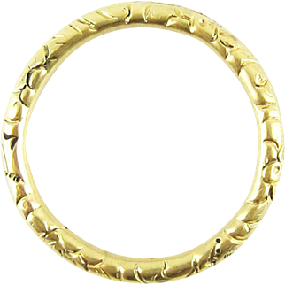 Antique 15ct Split Ring, Extra Large 15k Gold Engraved Ring for Holding Charms. Circa 1800s, 24.3 mm