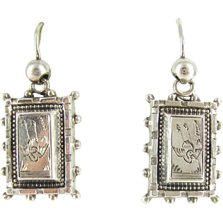 Antique Aesthetic Movement Earrings, Sterling Silver Engraved Diving Swallow Bird Design Rectangle Dangle Earrings. Victorian 1880s.