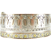 Victorian Aesthetic Sterling Silver Floral Cuff Bracelet, Silver with 9 Carat Gold Overlay in Flower Design. Circa 1880s Wide Bracelet.