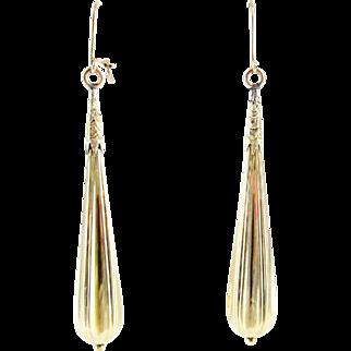 Antique Long Torpedo Drop Earrings, 15 Carat Yellow Gold Dangle Earrings. Late Victorian Circa 1890s