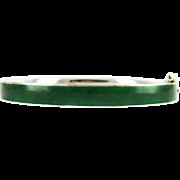 Vintage Green Enamel Bangle Bracelet, British Racing Green & Sterling Silver Bracelet. Circa Early 1900s.