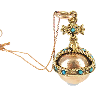 Vintage Cross & Orb Charm, 9 Carat Rose Gold Globus Cruciger Pendant. Monarch and Christian Symbol, Circa 1970s on 9k Chain.