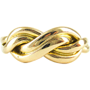 Antique Infinity Design Ring, 18 Carat Yellow Gold. Victorian Circa 1900 Fully Hallmarked Band.