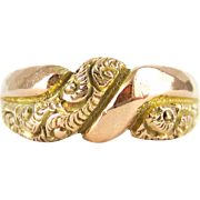 Antique Deakin & Francis Engraved Ring, Faceted and Engraved Art Nouveau 9 Carat Rose Gold Ring. Circa 1910s.