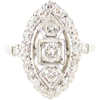 Vintage Diamond Dinner Ring, 0.50 ctw Mid 20th Century Cocktail Ring in Platinum.