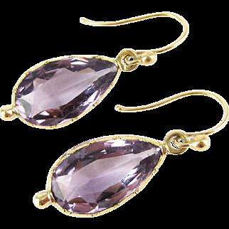 Antique Amethyst Earrings, Victorian Pear Cut Amethyst Drops in 14 Carat Gold, Circa 1870s.