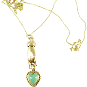 Antique Hand Charm with Chalcedony Love Heart, 18 Carat Gold Victorian Pendant on 9 Carat Yellow Gold Chain.