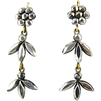 Antique Cut Steel Victorian Earrings, Cluster Cut Steel Hobnail Design and 9ct Gold Earwires, Circa 1880s.