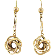 Victorian Love Knot Earrings, Antique 9 Carat Gold Lovers Knot Dangle Earrings. English 19th Century Jewellery.