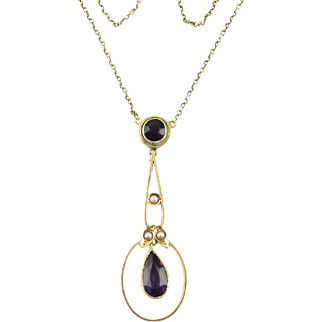 Antique Amethyst & Cultured Pearl Pendant, 15 Carat Rose Gold Pear Shape Drop Necklace. Circa 1900s - 1910s.