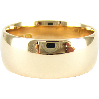 Antique 9ct Gold Wedding Ring, Rose Gold Wide Men's or Women's D Shape Profile Band. Circa 1910s, Size P.5 / 8.