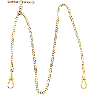 Antique Edwardian Watch Chain. Two Tone 9ct Rose Gold & 800 900 Silver Chain with Dog Clips and T-Bar. 40 cm / 15.75 inches, Circa 1900.