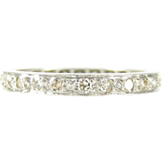 Vintage Diamond Eternity Ring, 18ct White Gold Full Hoop Wedding Band with Milgrain Beading, Circa 1930s, Size M / 6.5.