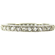 Antique Rose Cut Diamond Eternity Ring, Early 20th Century Full Hoop Platinum Band with Hand Engraved Sides. Circa 1900, Size K / 5.4.