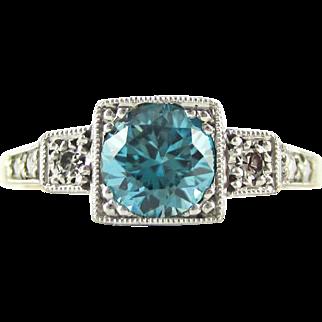 Vintage Blue Zircon & Diamond Engagement Ring, Three Stone Square Set Milgrain Engraved Ring. Circa 1940s, 18ct Plat.