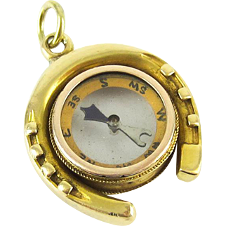 Antique Horseshoe Compass Pendant, Victorian Working Compass with Good Luck Horseshoe Charm, 18ct Gold.