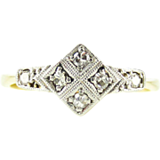 Art Deco Diamond Ring, Geometric Diamond Shape Bead Set Diamond Ring with Milgrain Beading. 18ct & PLAT, Circa 1930s.