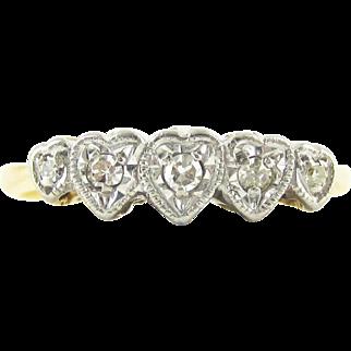 Vintage Diamond Heart Engagement Ring. Love Heart Shaped Five Stone Diamond Ring. Circa 1930s, 18ct Plat.