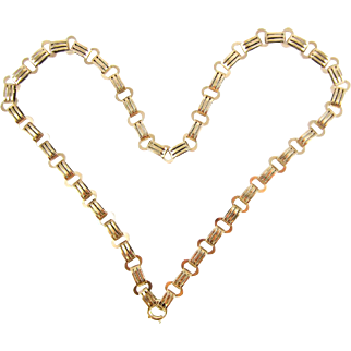 Antique 9ct Victorian Book Chain, Gold Fancy Link Necklace with Large Bolt Clasp for Pendant. Circa 1880s, 45.5 cm / 18 in.