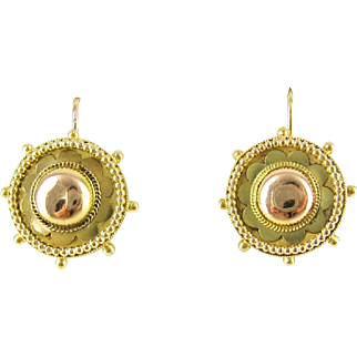 Antique 15ct Gold Earrings, Pierced Circle Drops with Beaded Detail and Flower Design. Hallmarked Chester 1880s.