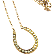 Antique Seed Pearl Horseshoe Necklace, Victorian Pearl Lucky Pendant. Circa 1880s, 9k Gold.