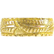 Victorian 18ct Fern Leaf Pattern Ring, Antique Wide Engraved Wedding Band in 18 Carat Gold. Mizpah, 1890s Hallmarks, Size K / 5.3.