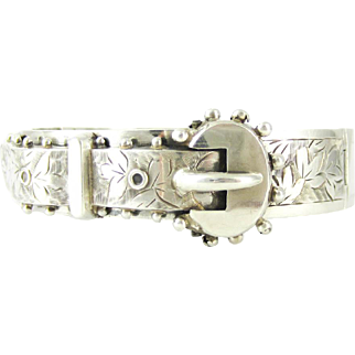 Antique Sterling Silver Buckle Bangle Bracelet Engraved with Ivy Leaf Design, English Bracelet Hallmarked 1880s.