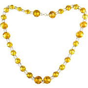 Antique French Citrine Paste Necklace, Large Yellow & Orange Faceted Paste in Open Back 800 900 Silver Setting. Circa 1900, 46 cm / 18 inches.