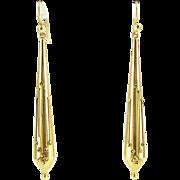 Victorian Cannetille Torpedo Drop Earrings, Filigree Wire Work Design, 9 Carat Gold.