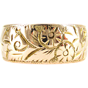 Antique Wide 9ct Wedding Ring, Wide Foliate Design Engraved Edwardian Rose Gold Wedding Band. Circa 1900s, Size O / 7.25.