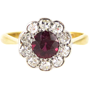 Antique Ruby & Diamond Cluster Ring, Edwardian Daisy Shape Vivid Red Ruby and Old Cut Diamond Ring. 18ct PLAT.