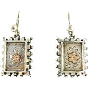 Victorian Sterling Silver Dangle Earrings, Engraved 9ct Rose Gold Flower Design Drop Earrings. Circa 1880s.